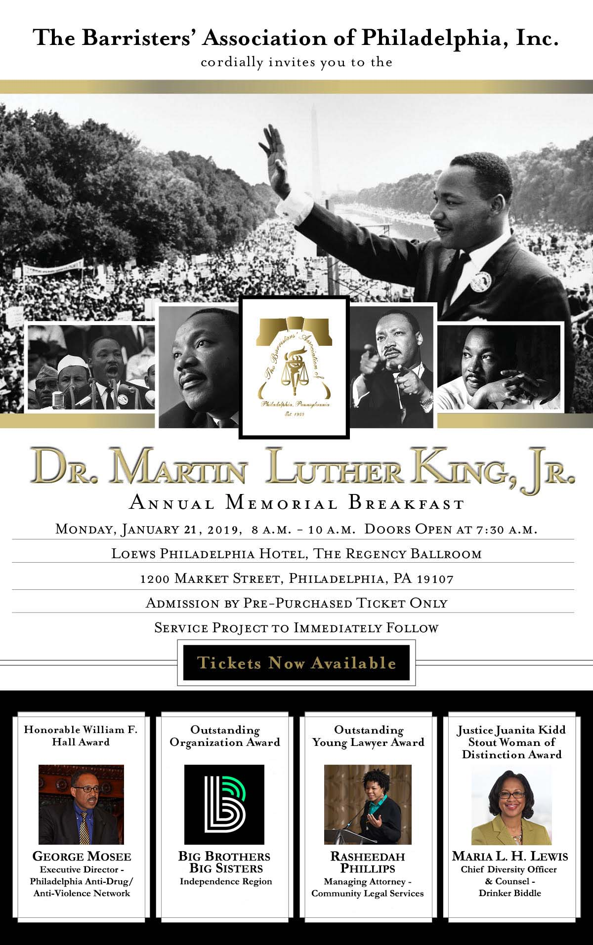 2019 Dr Martin Luther King Jr Annual Memorial Breakfast The Barristers Association Of Philadelphia Inc