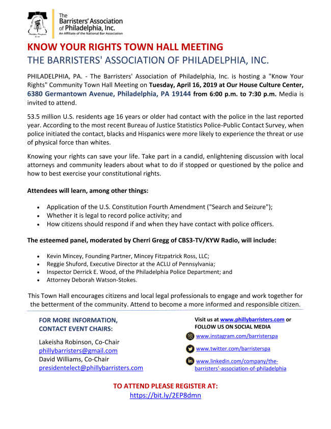 Know Your Rights Town Hall | The Barristers' Association of